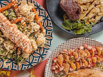Foto de três pratos do restaurante Relva Fresh Food